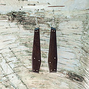 Украшения ручной работы. Ярмарка Мастеров - ручная работа Серьги многогранные из палисандра с инкрустацией серебра. Handmade.