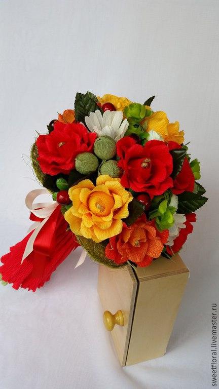 """Букеты ручной работы. Ярмарка Мастеров - ручная работа. Купить Букет роз с конфетами """"Музыка цветов"""". Handmade. Разноцветный"""