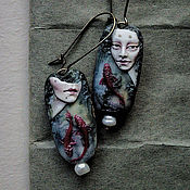 """Украшения ручной работы. Ярмарка Мастеров - ручная работа Серьги """"Porcelain Mermaids"""". Handmade."""