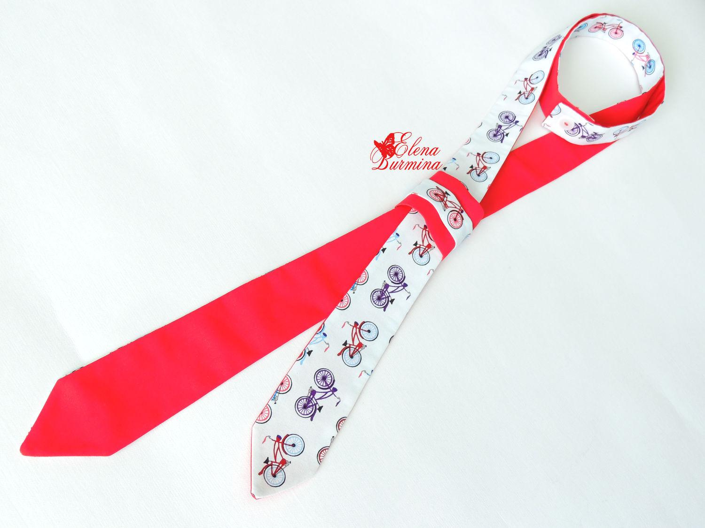 Женский галстук двухсторонний с велосипедами, хлопок, Галстуки, Оренбург, Фото №1
