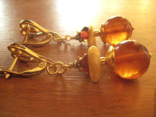 """Серьги ручной работы. Ярмарка Мастеров - ручная работа. Купить серьги--""""ЯНТАРНЫЕ ОГОНЬКИ""""--нат. янтарь,позолота.. Handmade."""