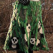 """Одежда ручной работы. Ярмарка Мастеров - ручная работа """"Бамбуковая роща. Панды"""" юбка войлочная. Handmade."""