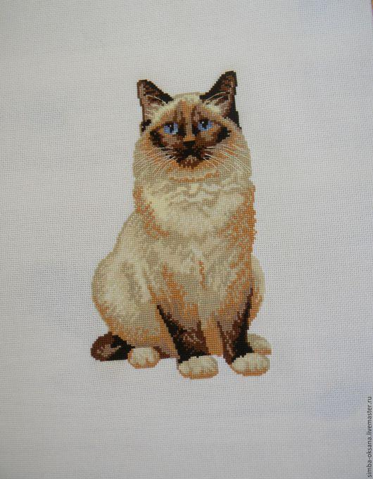 Животные ручной работы. Ярмарка Мастеров - ручная работа. Купить Сиамский кот. Handmade. Бежевый, Вышивка крестом, вышитый кот