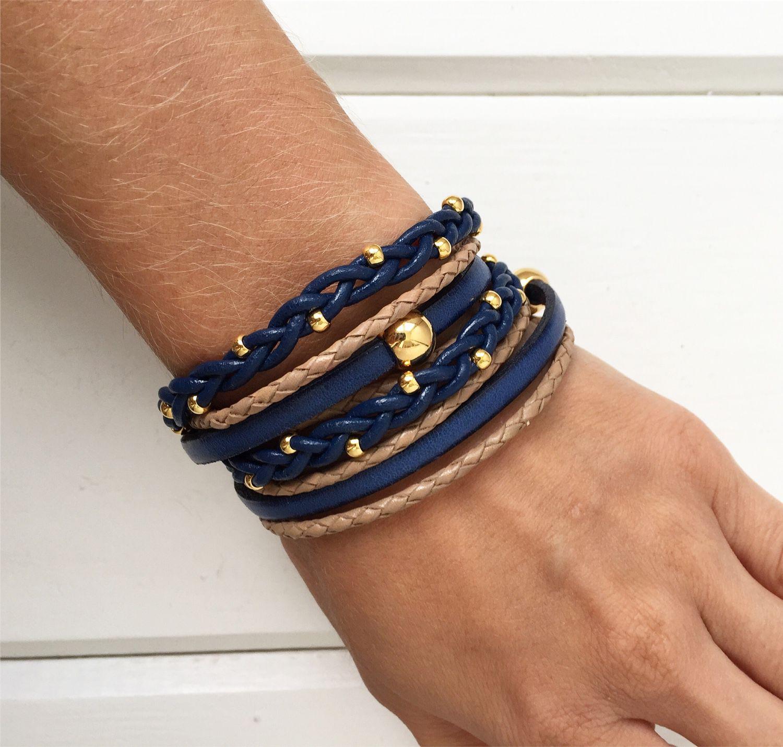 Кожаный браслет намотка, бежево-синий с золотом, Браслеты, Москва, Фото №1