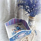 """Для дома и интерьера ручной работы. Ярмарка Мастеров - ручная работа Короб салфетница конфетница хламовница """"Синяя птица"""". Handmade."""