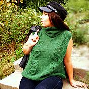 Одежда ручной работы. Ярмарка Мастеров - ручная работа вязаный жилет изумрудный. Handmade.