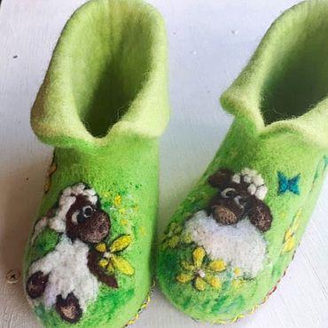 Обувь ручной работы. Ярмарка Мастеров - ручная работа Тапочки чуни Овечки. Handmade.