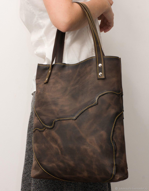Tote: Patchwork bag, genuine leather, crazy horse, Shopper, Stavropol,  Фото №1