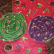 """Аксессуары ручной работы. Ярмарка Мастеров - ручная работа Шелковый платок """"Фантазийные яблони"""". Handmade."""