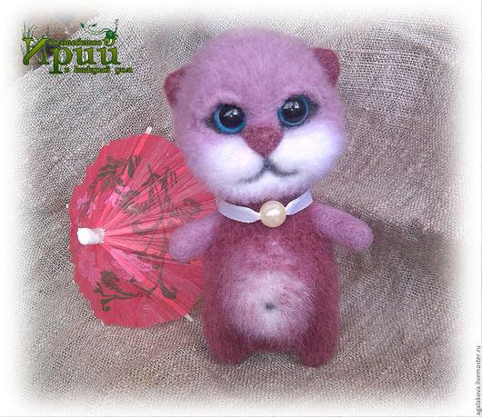 Игрушки животные, ручной работы. Ярмарка Мастеров - ручная работа. Купить Валяный кот котик котенок Бусинка брусничный игрушка войлочная шерсть. Handmade.