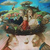 Картины и панно ручной работы. Ярмарка Мастеров - ручная работа Картина Семейное гнездо (сказочный портрет). Handmade.