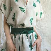 """Блузки ручной работы. Ярмарка Мастеров - ручная работа Блуза """"Filix"""" листья папоротника, лен ручная набойка. Handmade."""