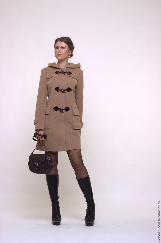 Верхняя одежда ручной работы. Ярмарка Мастеров - ручная работа. Купить Пальто твидовое с капюшоном. Handmade. Чёрно-белый, шерсть