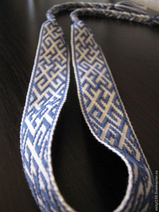 """Ткачество ручной работы. Ярмарка Мастеров - ручная работа. Купить Очелье """"Одолень трава"""" синее. Handmade. Синий, очелье тканое"""