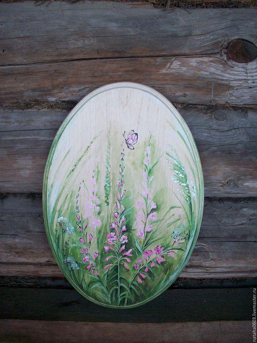 Картины цветов ручной работы. Ярмарка Мастеров - ручная работа. Купить Иван - чай......Деревянное панно. Роспись.. Handmade.