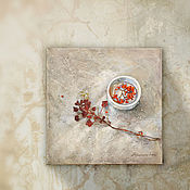 Картины и панно handmade. Livemaster - original item Painting on canvas Japanese still life (white, gray, red, Bordeaux). Handmade.