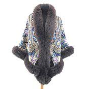 Аксессуары handmade. Livemaster - original item New!!! Shawl with fur as a gift. Handmade.