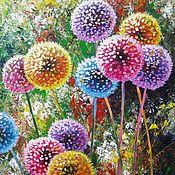 Картины и панно handmade. Livemaster - original item Dandelion flower art Original acrylic painting summer landscape. Handmade.