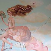 Дизайн и реклама ручной работы. Ярмарка Мастеров - ручная работа Роспись стен Девочка в розовом платье. Handmade.