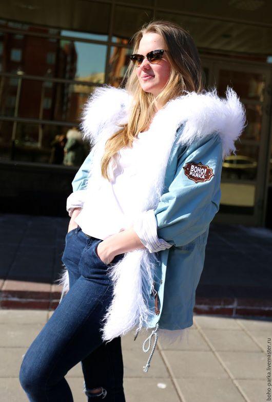 Верхняя одежда ручной работы. Ярмарка Мастеров - ручная работа. Купить Куртка парка - трансформер весна,лето. Серо - голубая. Handmade.