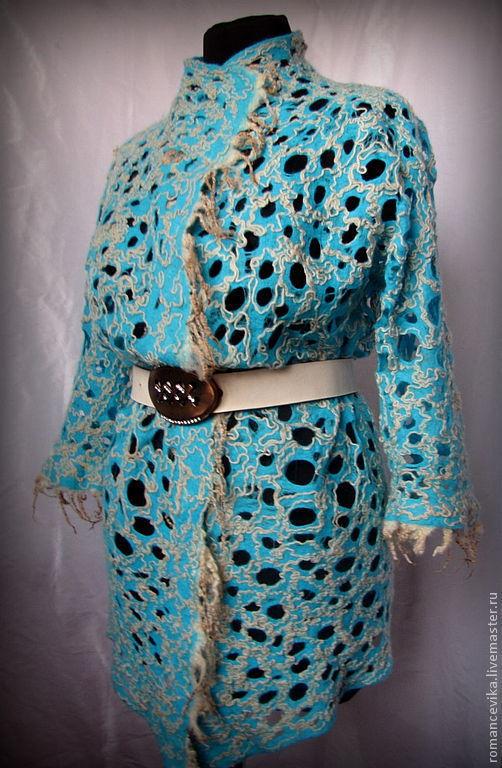 """Пиджаки, жакеты ручной работы. Ярмарка Мастеров - ручная работа. Купить жакет с рукавом 3/4 """"Сobweb  turquoise"""". Handmade."""