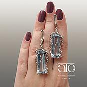 Украшения handmade. Livemaster - original item Large drop earrings with Sky Blue Topaz. 925 sterling silver. Handmade.