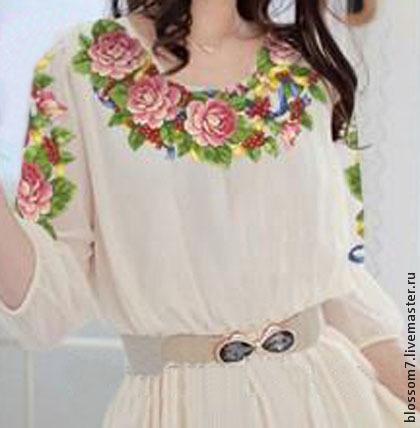 Платья ручной работы. Ярмарка Мастеров - ручная работа. Купить Платье вышитое (вышитый набор для пошива  платья). Handmade. Белый