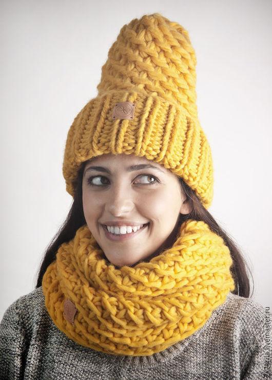 Комплекты аксессуаров ручной работы. Ярмарка Мастеров - ручная работа. Купить Комплект шапка + шарф-снуд «Шафрановый». Handmade.