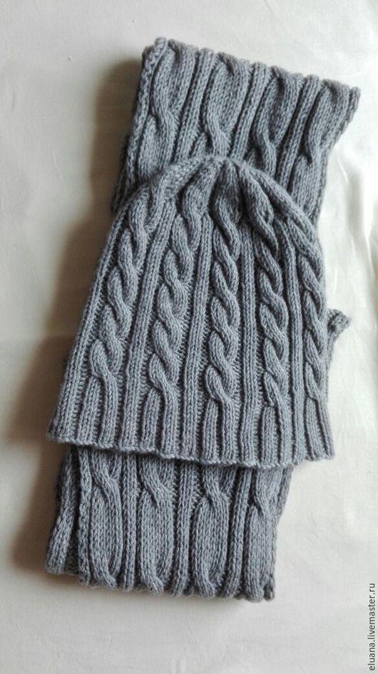 """Для мужчин, ручной работы. Ярмарка Мастеров - ручная работа. Купить Шапка+ шарф """"Меринос"""". Handmade. Серый, меринос"""