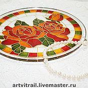 Посуда ручной работы. Ярмарка Мастеров - ручная работа Блюдо с красными розами. Handmade.