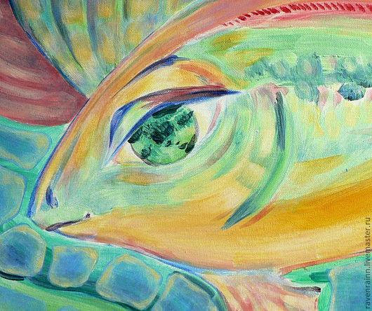 """Животные ручной работы. Ярмарка Мастеров - ручная работа. Купить картина """"Рыба"""". Handmade. Яркий, сказочный, рыба, желтый, синий"""