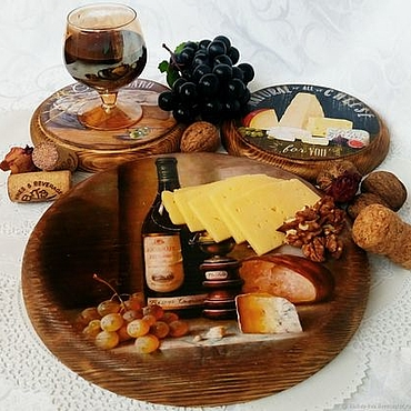 Для дома и интерьера ручной работы. Ярмарка Мастеров - ручная работа Набор сервировочных досочек, сырные досочки, панно. Handmade.