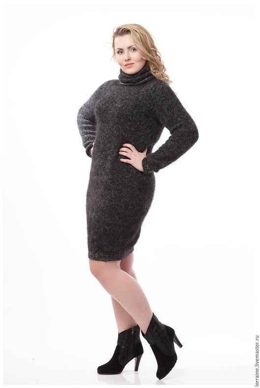 черный.однотонный.платье.платье вязаное.вязаное платье.ангора.платье из ангоры.ангоровое платье.платье ангоровое.шерстяное платье.платье шерстяное.платье из шерсти.трикотажное платье, большой размер
