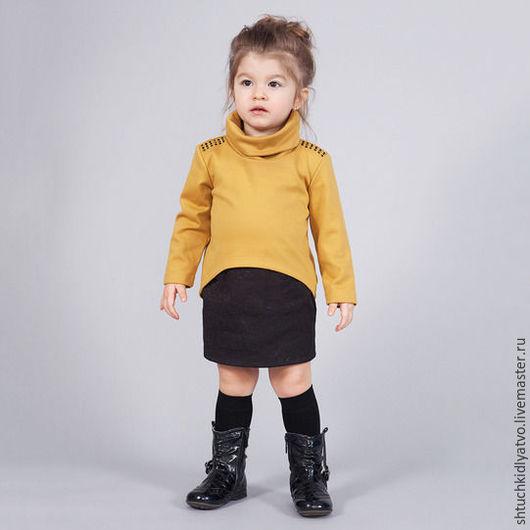 Одежда для девочек, ручной работы. Ярмарка Мастеров - ручная работа. Купить Кофта с высоким воротом и юбка. Handmade. Комбинированный, горчица