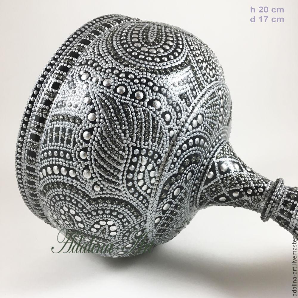 Конфетница СЕРЕБРЯНАЯ РАПСОДИЯ ваза кубок Точечная роспись