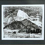 """Картины и панно ручной работы. Ярмарка Мастеров - ручная работа Картина """"Японский пейзаж""""  Монотипия черно-белый пейзаж. Handmade."""