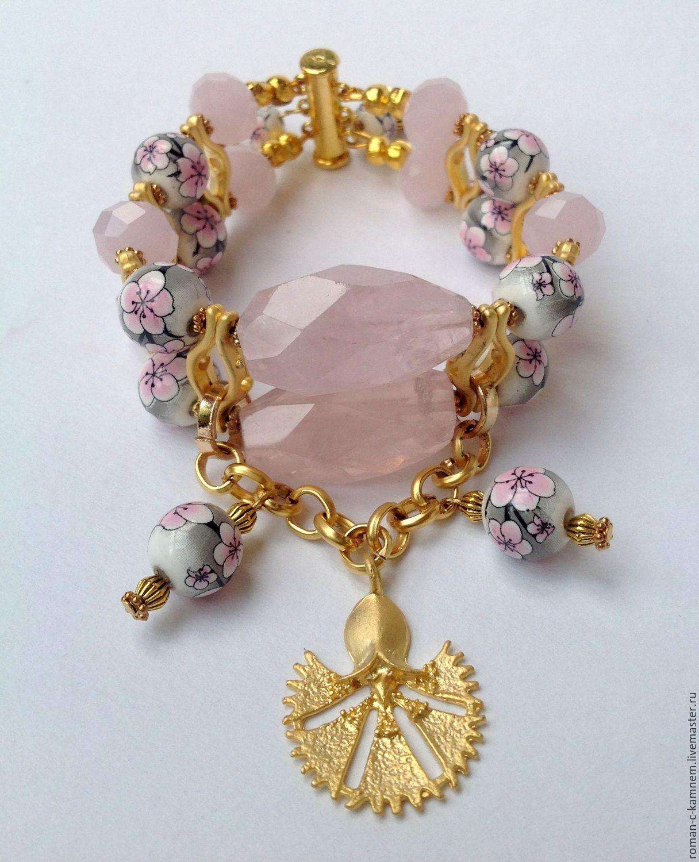 Комплект украшений из розового кварца и фарфора в этническом восточном стиле Цветение вишни. Необычное, авторское украшение, роскошный подарок для стильных, неординарных женщин и девушек.