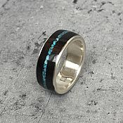 Украшения handmade. Livemaster - original item Ring with tree turquoise night. Handmade.