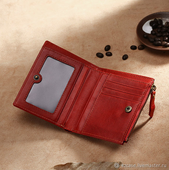 Leather wallet female and male Hypatius red / Handmade, Wallets, Moscow,  Фото №1