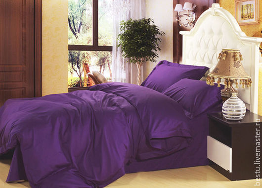 """Текстиль, ковры ручной работы. Ярмарка Мастеров - ручная работа. Купить """"Ночная фиалка"""" постельное белье из премиум сатина. Handmade."""