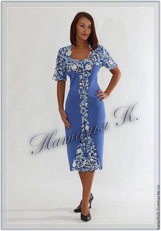 Платья ручной работы. Ярмарка Мастеров - ручная работа. Купить Платье Метелица. Handmade. Синий, 100% мерсеризованный хлопок