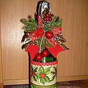 Подарки к праздникам ручной работы. Ярмарка Мастеров - ручная работа Декор новогоднего шампанского. Handmade.