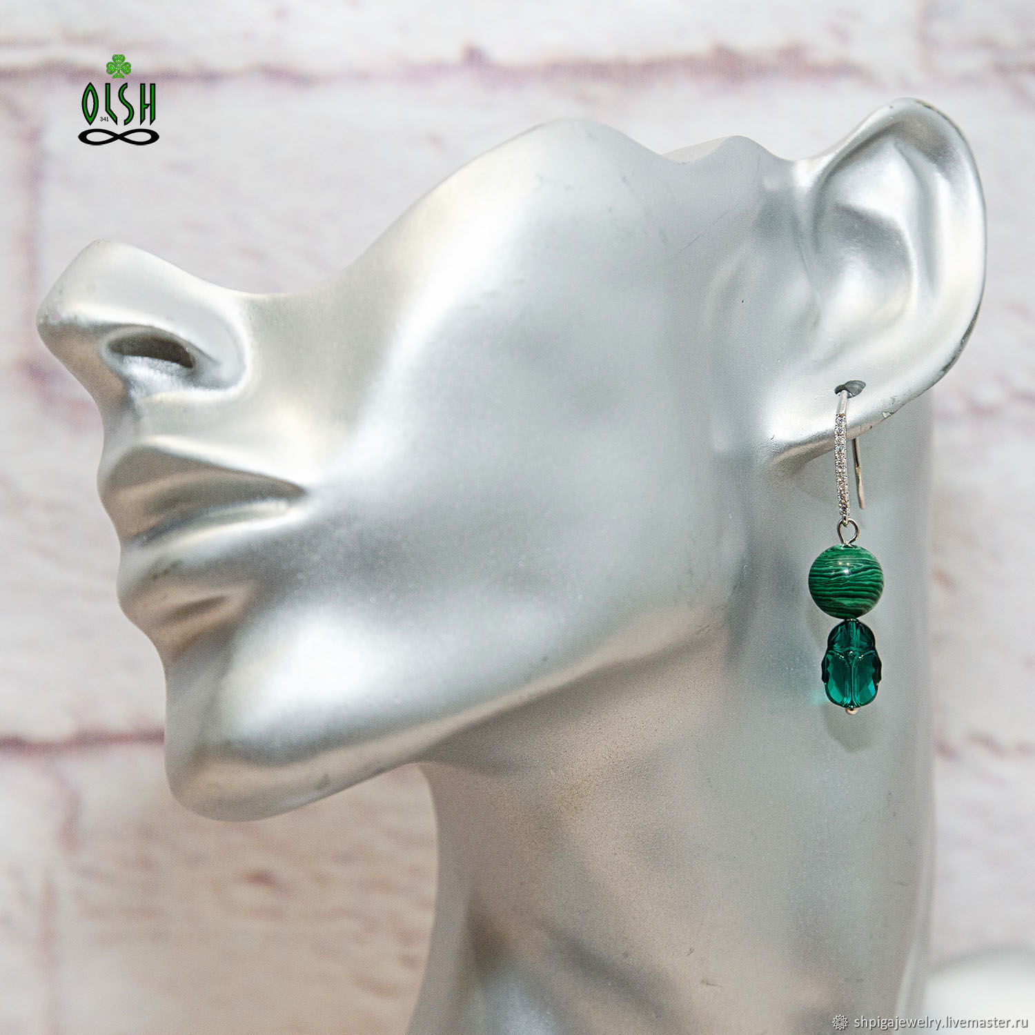 Green earrings natural malachite and Swarovski scarab Scarab, Earrings, Budennovsk, Фото №1