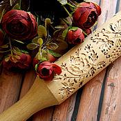 Для дома и интерьера ручной работы. Ярмарка Мастеров - ручная работа Скалка с узором цветы и олененок, скалка для пряников и печенья. Handmade.