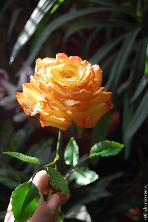 """Цветы ручной работы. Ярмарка Мастеров - ручная работа. Купить Роза """" Confetti """". Handmade. Желтый, холодный фарфор"""