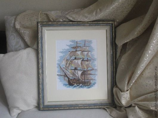 Пейзаж ручной работы. Ярмарка Мастеров - ручная работа. Купить Корабль. Handmade. Картина из шерсти, картина для интерьера, вышивка