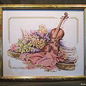 """Картины и панно ручной работы. Ярмарка Мастеров - ручная работа Вышивка крестом """"Скрипка и цветы"""". Handmade."""