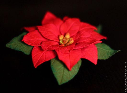 """Броши ручной работы. Ярмарка Мастеров - ручная работа. Купить Брошь """"Рождественская звезда"""" Пуансеттия. Handmade. Ярко-красный"""