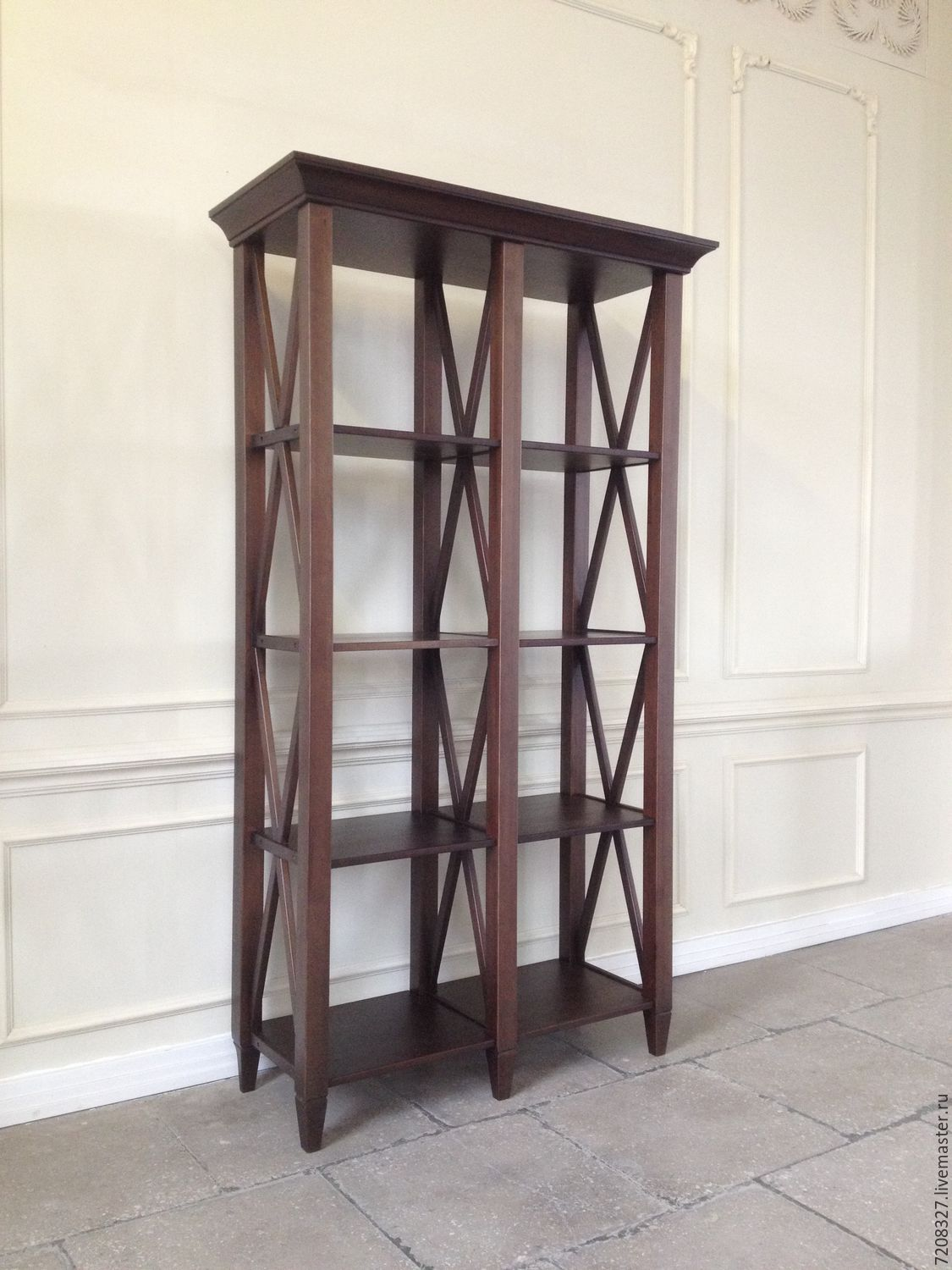 High shelving-library with open shelves and decor from intersecting details. The difference in color, size, materials is possible, due to manual work.