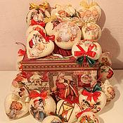 """Подарки к праздникам ручной работы. Ярмарка Мастеров - ручная работа """"Ангелы и снеговики"""" Набор елочных игрушек. Handmade."""